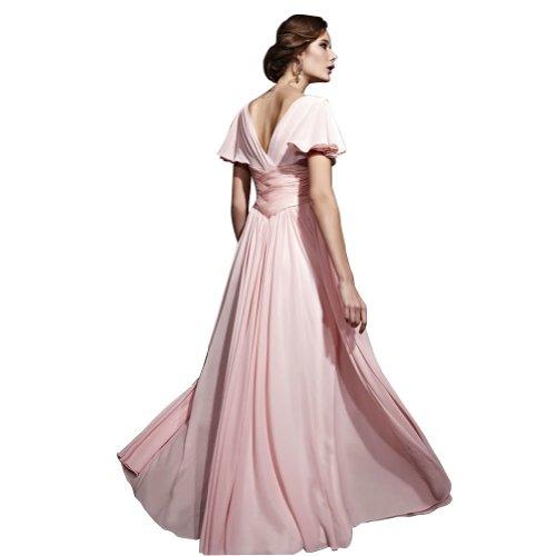 Rosa mit bodenlangen Rosa Chiffon GEORGE Abendkleid Spalte BRIDE Ausschnitt V Perlen Mantel Applikationen ZwS5wqF