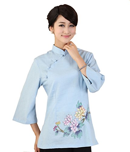 jtc-linen-womens-chinese-style-3-4-sleeve-blouse-s-1