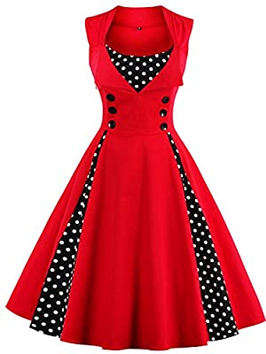 Babyonline Women Vintage Cocktail Dresses 1950s Retro Rockabilly Evening Gown