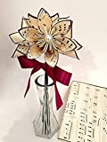 5 Custom Paper Flowers- Vase & Card Included, You choose type of paper & accent colors,one of a kind origami, dark red daisy, 1st anniversary gift