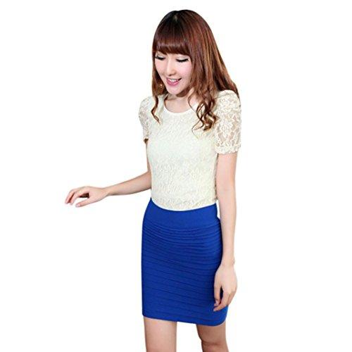 Womens haute lastique paquet taille New jupe pliss Bleu Fashion courte ADESHOP hanche 1EwFqSY