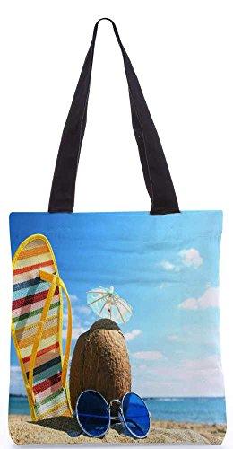 """Snoogg Sommer-Strand-Einkaufstasche 13,5 X 15 In """"Einkaufstasche Dienstprogramm Trage Von Polyester Canvas"""
