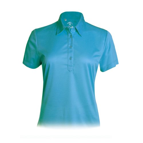 Monterey Club Ladies Dry Swing Stripe Combo Texture Polo #2290 (Dark Teal, Medium)