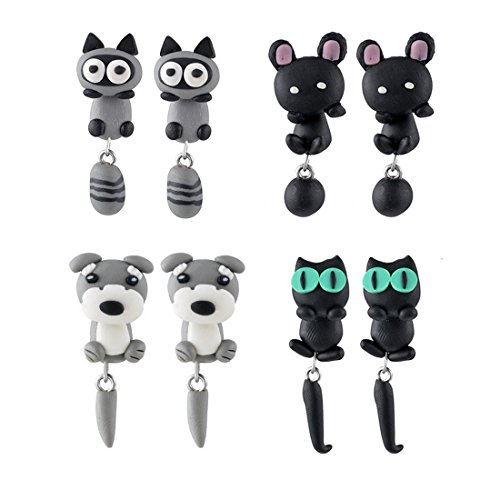 MJARTORIA Polymer Clay Black Animal Handmade Piercing Clip Stud Earrings Set of 4