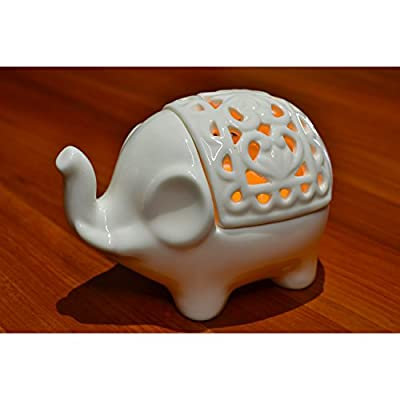 Decorative White Elephant Openwork Design Ceramic Tea Light Candleholder - MyGift