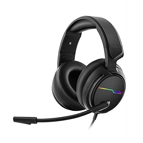 (Stereo Gaming Headset - Noise Cancelling Over Ear Headphones with Microphone - LED Light Soft Earmuffs Bass Surround Compatible with Laptop (Black) Wireless Headphones )