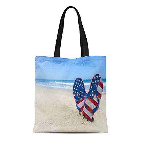 Semtomn Canvas Tote Bag Blue July Patriotic Usa Flip Flops Sandy Beach Red Durable Reusable Shopping Shoulder Grocery Bag
