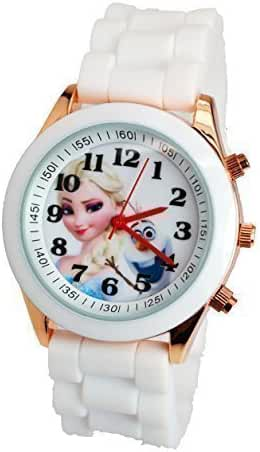 Disney Frozen Watch For Girls W/Fashion Buttons. Silicone Strap. Large Analog Display.