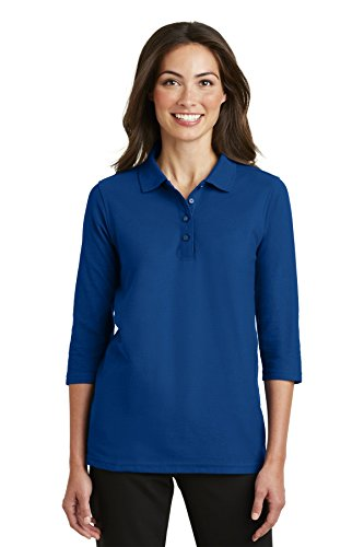 Port Authority Ladies Silk Touch 3/4-Sleeve Polo. L562 Royal XL