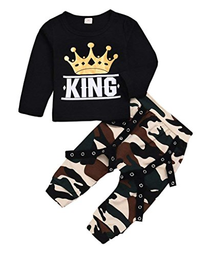 ViWorld Toddler Kid Baby Boy Clothes Little Big Brother Print Top +Cool Camo Pants Outfit Set (Black, 12-18 Years)