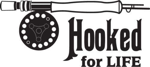 Trout Hooked Home - Gabriel Bloor Hooked for Life Fly Rod Trout Fishing Car Truck Window Decal Sticker 57 25cm