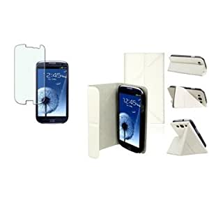 Bloutina CommonByte WHITE Leather Desktop Stand Case+Bling LCD SP for Samsung Galaxy SIII S3 i9300