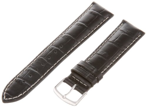 Medium Leather Watch Strap - Hadley-Roma Men's MSM834RA-200 20-mm Black Genuine Italian Calfskin Leather Watch Strap