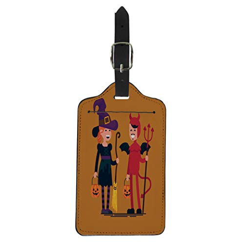 Pinbeam Luggage Tag Lovely Character on Halloween Kids Wearing Costumes Happy Suitcase Baggage Label ()
