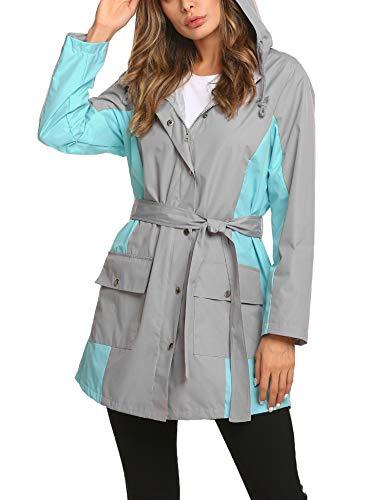 Thin Rain Jacket Women Long Raincoat Long Snow Rain Trench Coat Lined Windbreaker Grey Large