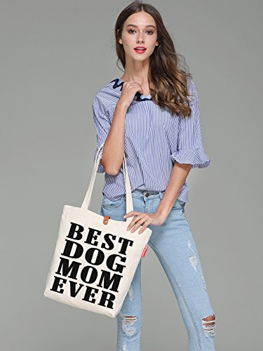 38cm Print Beige Beach Ever 10L Tote Best Bag Canvas amp; Mom Dog So'each fq4vSRHnv