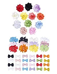 Finrezio 48 PCS Grosgrain Ribbon Flower Baby Hair Bow Clips for Toddler Baby Girls 3 Style Big Alligator Barrettes