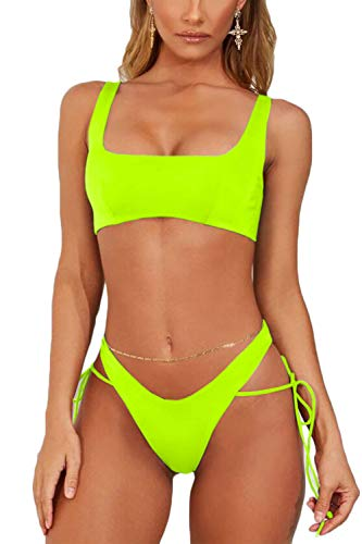 Almaree Womans Square Neck Tie Side Cutout Bikini Set Thong Swimsuits Neon Yellow M ()