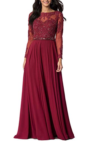 - Aox Women's Vintage Long Sleeve Floral Chiffon High Waist Party Evening Dress Formal Prom Skirt (Small, Red Wine)