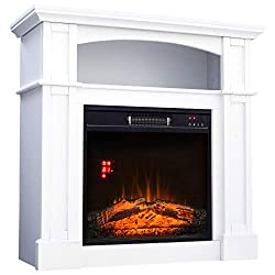 "HOMCOM 32"" 1500W Freestanding Full Frame Electric Fireplace Stove Heater Portable with Remote Control"
