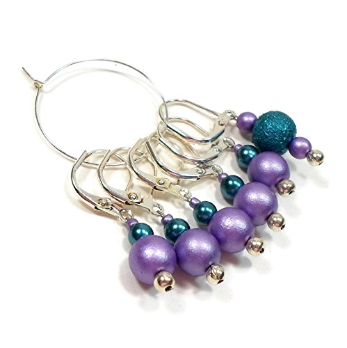 Marker Knitting Beads - Removable Locking Stitch Markers for Crochet and Knitting Purple Teal Set of Six