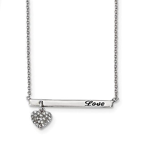 Best Birthday Gift Sterling Silver Rhodium-plated CZ Black Oxidation Heart Love Bar Necklace by Jewelry Brothers Necklaces