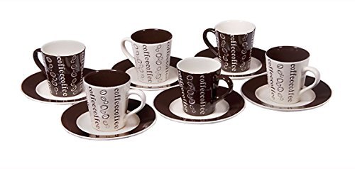 Set of 6 Demitasse Stoneware 2.7 Ounce Espresso Cup and Saucers (White and Brown Coffee)