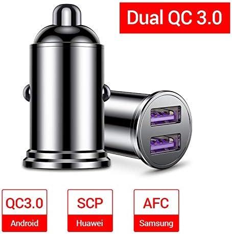 車の充電器、USB 3.0カーバッテリー充電器、ミレーサムスン華為船外機の現在の表示のためのデュアルUSB車の充電アダプタ Charger (Plug Type : 36W QC 3.0 Metal)