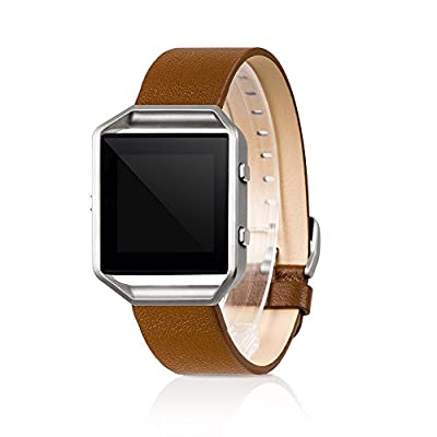Wearlizer Replacement Band Genuine Leather Strap for Fitbit Blaze