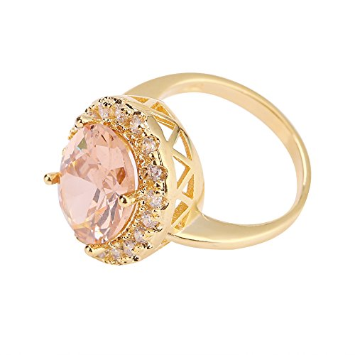 Brrnoo Zircon Ring, Large Fashionable Round Morganite Jewelry Filled Gift(6)