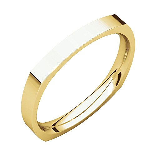 (Security Jewelers 14k Yellow Gold 2.5mm Square Comfort Fit Band, 14kt Yellow Gold, Ring Size 7)