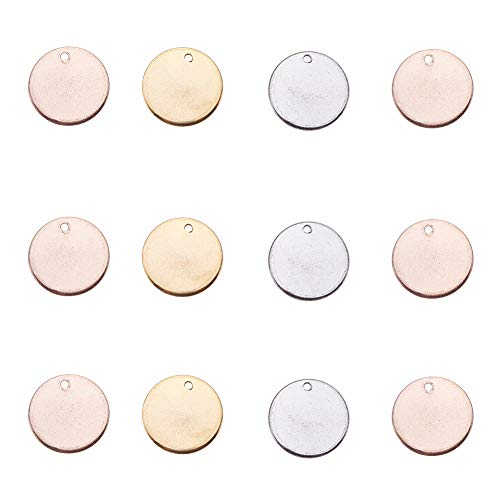 (PandaHall Elite 60 Pcs 304 Stainless Steel Flat Round Blank Stamping Tag Pendants Charms Diameter 15mm Jewelry Making 3 Colors)
