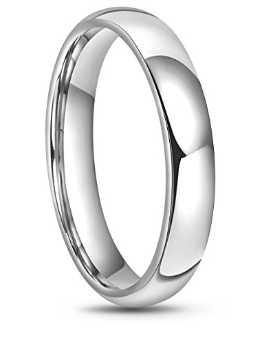 RoyalKay 2mm 4mm 6mm White Tungsten Wedding Band Ring Men Women Plain Dome High Polished Comfort Fit Size 3 to 17 (6mm,10)
