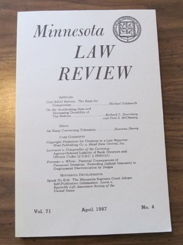 Minnesota Law Review  April 1987  Featuring Suit Between Westlaw And Lexis