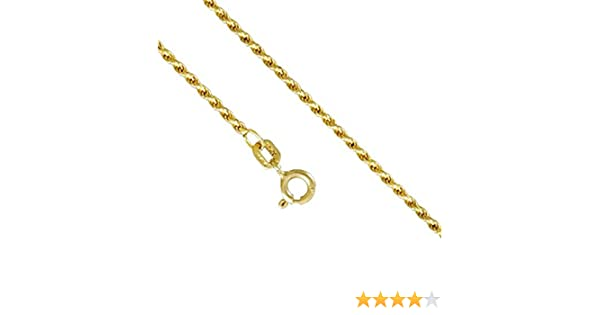 16-24 Inches Jawa Fashion 10K Yellow Gold Men Womens 2.0MM Rope Cut Necklace Spring Clasp