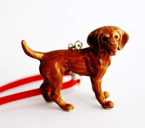 Vizsla Dog Small Christmas Ornament Tree Decor Porcelain Animal Figurine Charm