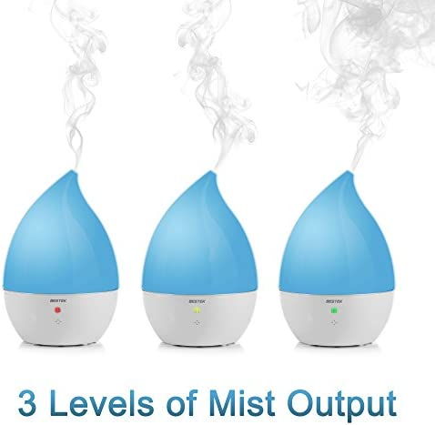 Ultrasonic Cool Mist Humidifier, BESTEK Aroma Essential Oil Diffuser, Whisper Quiet, Auto Shut Off and Adjustable Mist Mode, for Home, Yoga, Office,