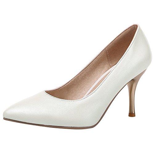 Coolcept Women Tacco Alto Scarpe A Punta Tinta Unita Slip-on Stiletto Scarpe Elegante Bianco Formale