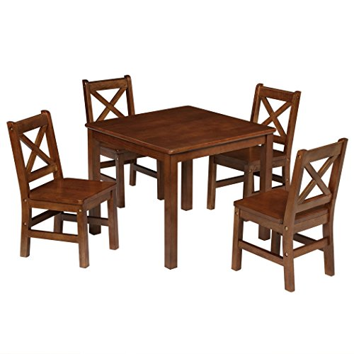 eHemco Kids Table and Chairs Set Solid Hard Wood with X Back Chairs (5, Coffee)