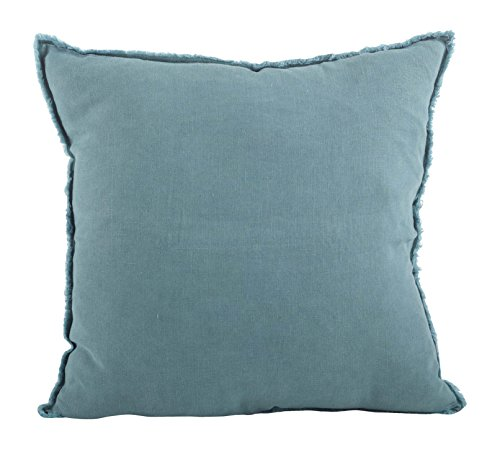 (SARO LIFESTYLE Graciella Collection 100% Linen Down-Filled Throw Pillow with Fringed Edges 20