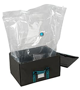 Wenko 7450012100 Space Box L - Caja de tejido transpirable para almacenaje al vacío con bolsa (70 x 19 x 47 cm), colores antracita/turquesa