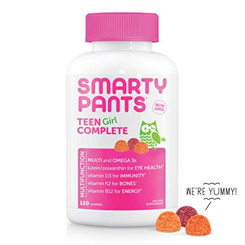 SmartyPants Teen Girl Complete Daily Gummy Vitamins: Multivitamin, Gluten Free, Lutein/Zeaxanthin for Eye Health*, Biotin, Vitamin K & D3, Omega 3 Fish Oil (DHA/EPA), 120 Count (30 Day Supply)