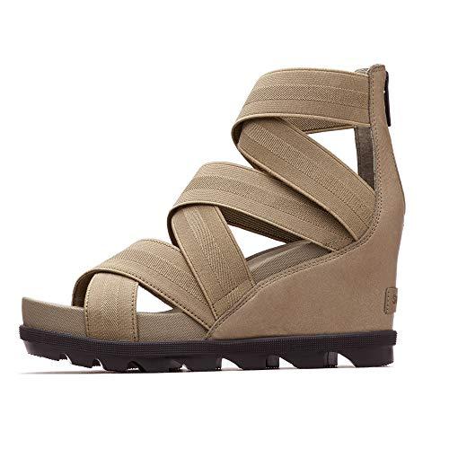 Sorel - Women's Joanie II Strap Leather Open Toe Wedge Sandals, Sage, 8.5 M US