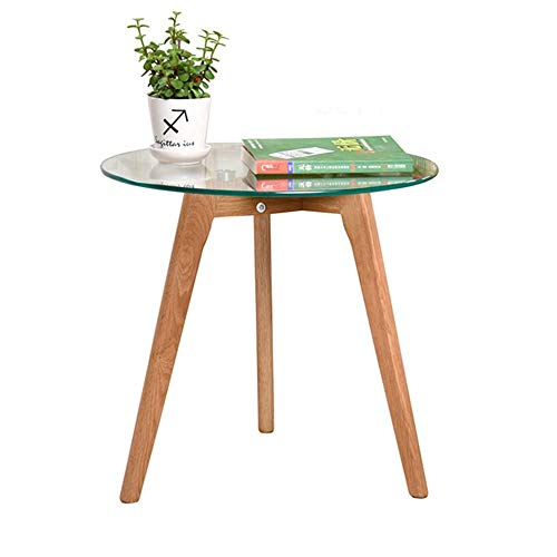 HANSHAN Side Table Small Side Table Round Coffee Table, Solid Oak Legs + Tempered Glass top, Very Suitable for Balcony Living Room Bedroom 5040.545cm Multi-Function