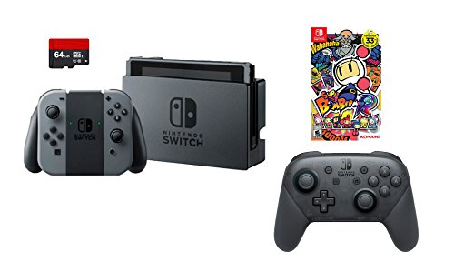 Nintendo Swtich 4 items Bundle:Nintendo Switch 32GB Console Gray Joy-con,64GB Micro SD Memory Card and an Extra Nintendo Switch Pro Wireless Controller,Super Bomberman R