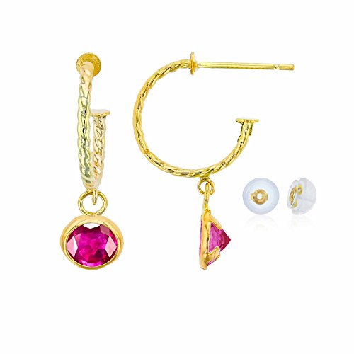 Glass Earrings Ruby (14K Yellow Gold 12mm Rope Half-Hoop with 4mm Round Glass Filled Ruby Bezel Drop Earring with Silicone Back)