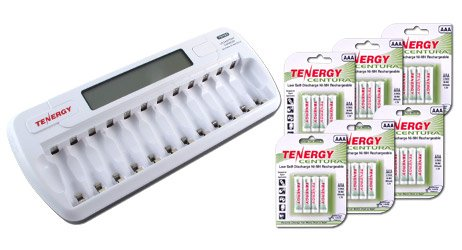 Combo: TN160 12-Bay AA/AAA NiMH/NiCD LCD Charger + 6 Cards: Centura AAA (LSD) NiMH Rechargeable Batteries by Tenergy