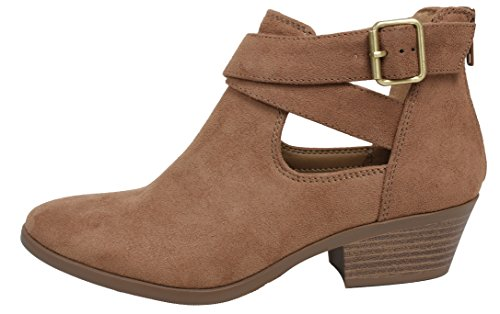 Stack Heel Platform Boots (SODA Women's Closed Toe Criss Cross Buckle Cutout Low Stack Heel Ankle Boot (10 B(M) US, Tan))