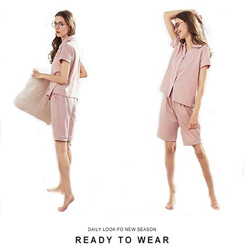 Donna A SQINAA Rosa pantaloni Manica Corto Puro Con Corta Set Abbottonare Pigiama Pigiama Loungewear Corto Colore 44wxTFZBYq