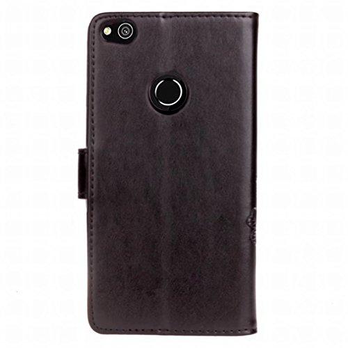Yiizy Huawei P8 Lite (2017 / Nova Lite / GR3 (2017 Custodia Cover, Tre Foglia Erba Design Sottile Flip Portafoglio PU Pelle Cuoio Copertura Shell Case Slot Schede Cavalletto Stile Libro Bumper Protett
